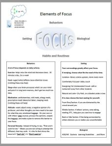 Info sheet on elements of focus